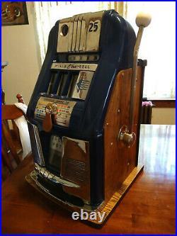 Antique Vintage Mills Blue Bell Slot Machine One-Armed Bandit 25 Cents