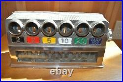 Antique Watling Brownie Nickel Coin 5 Cent Slot Machine Wood Case Roulette Wheel