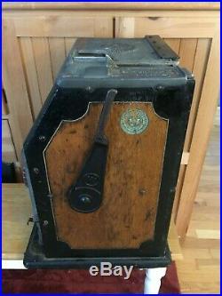 Antique Watling Mechanical Slot Machine Case Cabinet Double Jackpot with Handle