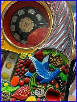 Antique Watling Rol-A-Top 5c Cent Slot Machine Birds Of Paradise. Very Rare