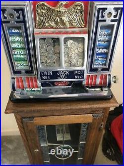 Antique Watling Rol-A-Top Coin/dispenser 5c Slot Machine With Stand! Estate Find