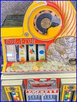 Antique Watling Rol-A-Tor 1c Cent Penny Slot Machine Working Excellent Condition