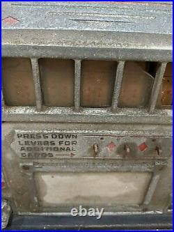 Antique Wooden Gum Slot Machine Mercantile Old West Decor Casino Rare Cards