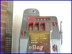 Antique Working Mills 10 Cent Cherry Slot Machine On Wood Base