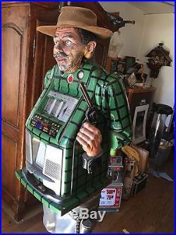 Authentic Rare MILLS STANDING COWBOY SLOT MACHINE 50 Cent Mills Slot Machine