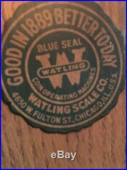 BLUE SEAL WATLING ROL-A-TOP 5c SLOT MACHINE, + RARE METAL BASE CABINET