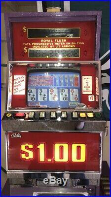 Ballys Vintage Video Poker Machine. Dollar Tokens