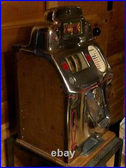 Beautiful Antique O. D. Jennings 1940's Standard Chief 10¢ Slot Machine withstand
