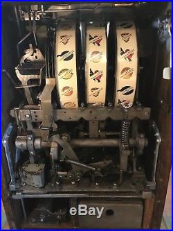 Beautifully restored 1931 Mills Peacock 5 cent Slot Machine mint vendor