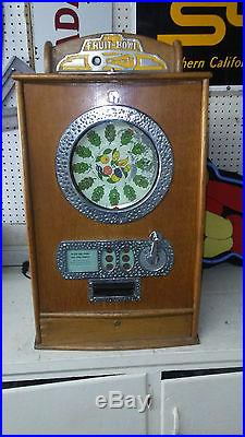 Brians Fruit Bowl Antique Spinning Game 1c Slot Machine-Rare