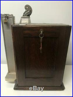 CHARLES FEY original condition 5 cent slot machine-cast iron castings