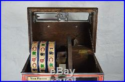 Caille Bros 3 Reel Fortune Gum 1 cent Poker Cigar Store Saloon Trade Stimulator