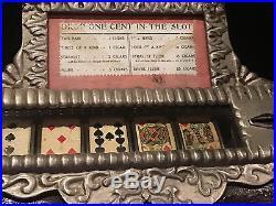Caille Good Luck Poker 5-Reel Cigar Trade Stimulator Oak Case 1 cent