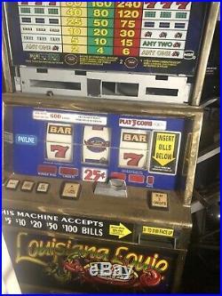 Casino 25 CENT SLOT MACHINE Double Red White Blue Superstars Louisiana Louie