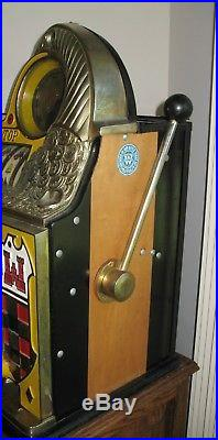 D#53 Antique 1935 WATLING ROL A TOP 10c Dime Casino Slot Machine WithCabinet Stand