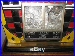 D#53 Antique WATLING ROL A TOP 10c Dime Casino Slot Machine WithCabinet Stand
