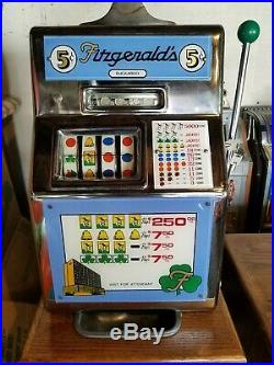 Fitzgerald Buckaroo Slot Machine 5 Cent with Stand 4 Reel