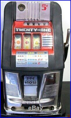 Five Cent Mills Antique Twenty One Hi Top Slot Machine Circa 1950Jackpot payout