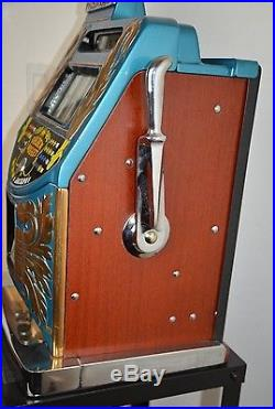 Golden Nugget Slot Machine Blue Bell 5 cent Brass Castings 1960's Very Clean