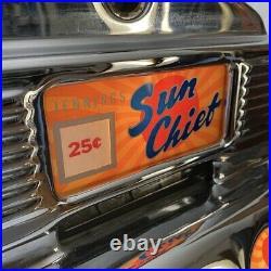 JENNINGS SUN CHIEF 25c Slot Machine Gorgeous WithFREE Oak Stand