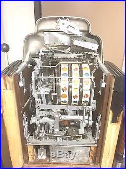 Jennings Super Deluxe Sun Chief 5 Cent Slot Machine In Original Floor Console