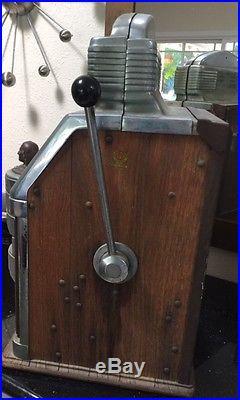JIMMY DURANTE'S Antique 1950's Sun Chief NICKEL SLOT MACHINE Working Saves Pets