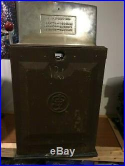 Jennings 25 Cent Antique Mechanical Slot Machine Case Cabinet Coin Box Back Door