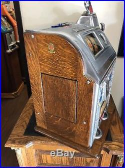 Jennings 25 Cent Dutch Boy/girl Slot Machine With Side Vendor Restored Original