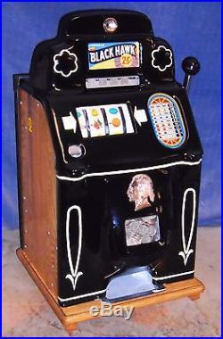 Jennings 25-cent BLACK HAWK antique slot machine, 1946