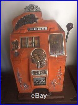 Jennings 5 Cent 4 Star Chief Slot Machine Nice Unrestored Original