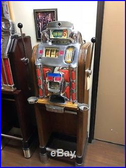 Jennings 5 Cent Slot Machine Super Deluxe Club Chief Light Up Factory Console