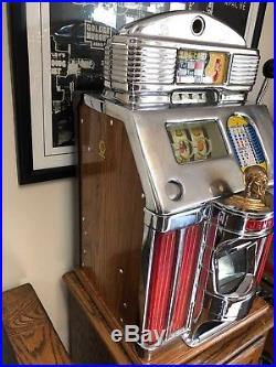 Jennings 5 Cent Slot Machine Super Deluxe Sun Chief With Light Up Panels