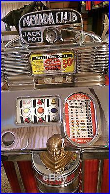 Jennings Half Dollar Sweepstake Chief Antique Slot Machine