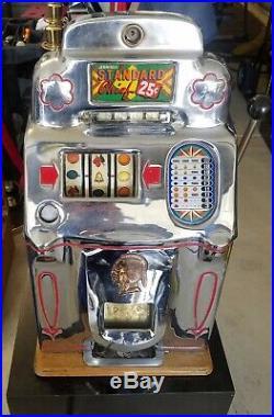 Jennings Slot Machine Standard Chief 1940's Antique Vintage Quarter 25 Cent Rare