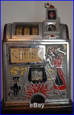 Jennings Slot Machine Witch Black Cat 5 cent 1920's Not a Fake