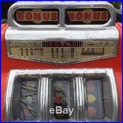 Keeney 1949 BONUS BONUS Twin Coin Slot Machine with SILVER DOLLAR Feature