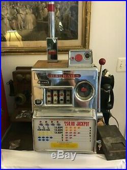 Lot of 2 Pace Dollar $1 & Harrahs 4 Reel 5 Cent Slot Machine Antique Mechanical