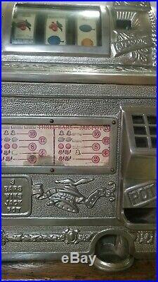 MILLS 5 CENT GOOSENECK 1920's COIN OP SLOT MACHINE WJACKPOT CAST IRON TOP