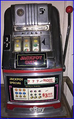 MILLS 5 CENT Nickle SLOT MACHINE Jackpot