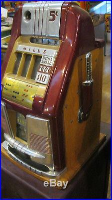 MILLS 5-cent 777 Hi-Top antique slot machine, 1949