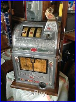 MILLS LIBERTY BELL Nickel Slot Machine MUST SEE Nice Shape