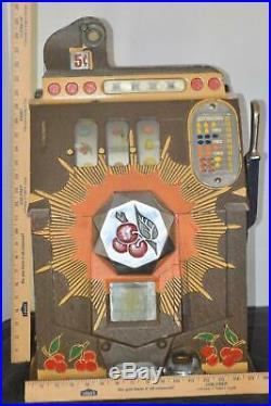 MILLS Novelty CO 5 Cent ANTIQUE BURSTING CHERRIES Slot Machine 15x16x25