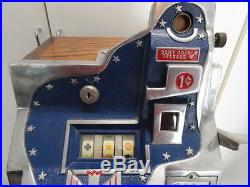 Mills Rare 1934 Penny 20 Star Q. T. Antique Slot Machine, Nicely Restored Cond