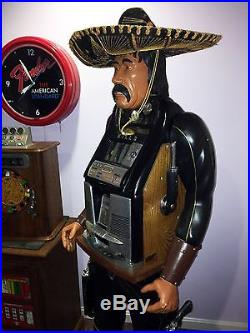 Mexican Bandito Carved Wooden Antique Slot Machine Figure