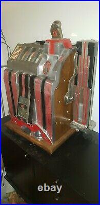 Mills 1932 5 cent Skyscraper slot machine gooseneck, side vendor, Almost perfect