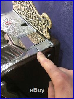 Mills 25 Cent OPERATOR BELL Antique Slot Machine circa 1920s WATCH VIDEO