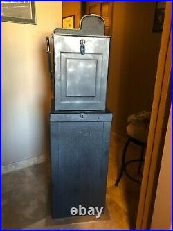Mills 5 Cent Black Cherry Antique Slot Machine & Black Metal Stand Pickup Only