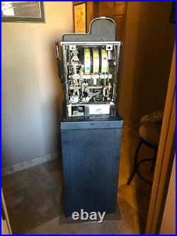 Mills 5 Cent Black Cherry Antique Slot Machine With Black Metal Stand Used