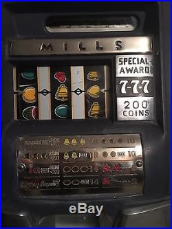 Mills 5 Cent Hi Top Special Award 7-7-7 Slot Machine Excellent Condition