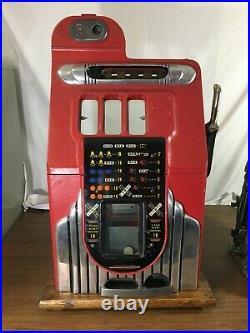 Mills 5 Five Cent Criss Cross Antique Mechanical Slot Machine